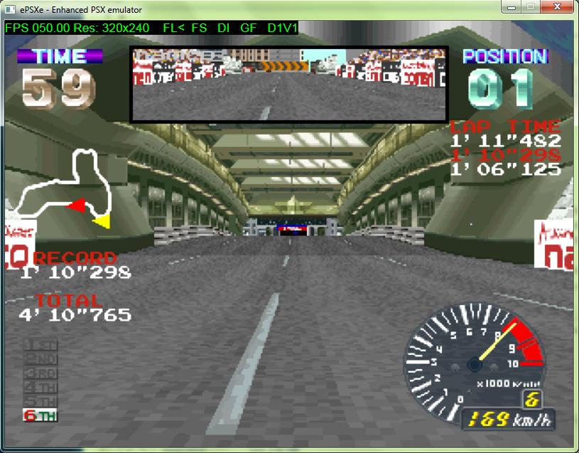 Ridge Racer in ePSXe using the D2D plugin