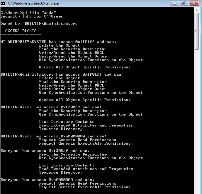 QueryDacl Directory Output