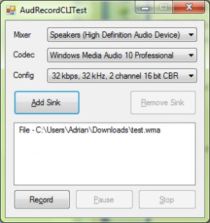 AudRecordCLITest Sample Application